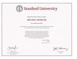 Missy Stanford Certificate